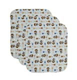 Carter's 3 Count Keep Me Dry Flannel Lap Pads, Monkey Rock Star