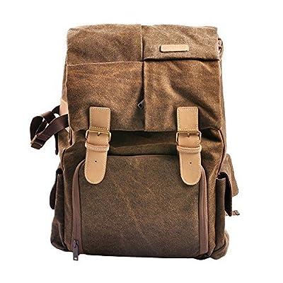 Tepoinn Waterproof DSLR SLR Camera Canvas Shoulder Bag Backpack Rucksack Bag Case for Canon Nikon Sony Olympus Pentax