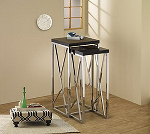 "Brand New 25''/29''H Nesting Tables Set Black Large: 13""L X 13""W X 29""H Small: 11""L X 11""W X 25""H front-369786"