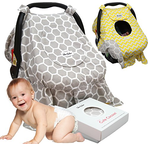 Sho Cute - [Reversible] All-Weather Carseat Canopy | Multi-Use Car Seat Covers | Unisex Grey Honey Comb & Yellow Chevron | Nursing Cover | Universal Fit | Baby Gifts Boy or Girl -Patent Pending (Graco Car Seat Handle Cover compare prices)