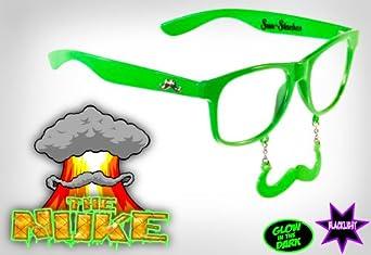 New Vintage Style Wayfarer Mustache Sunglasses Green Glow in the Dark Clear Lens