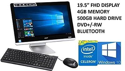2016 Newest Acer Aspire AZC Premium All-in-One Desktop PC, 19.5-Inch Full HD Display (1920 x 1080), Intel Celeron Processor, 4GB DDR3L Memory, 500GB HDD, DVD±RW, Bluetooth, Windows 10