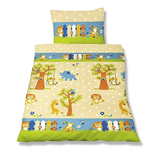 aminata kids kinderbettw sche 100x135 biber flanell zoo tiere mit elefant. Black Bedroom Furniture Sets. Home Design Ideas