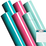 A2G303 12 x 12 Inches Turquoise Pink Mint 2 sheets of each color Gloss Permanent Outdoor Adhesive Vinyl Sheets Rolls for Personal Craft Vinyl Cutters make Wall Decals Vinyl Lettering Stickers at home