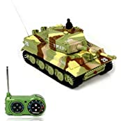 Pacoco New Mini 1:72 49 M Hz R/C Radio Remote Control Tiger Tank 20 M Kids Toy Gift Camouflage Yellow