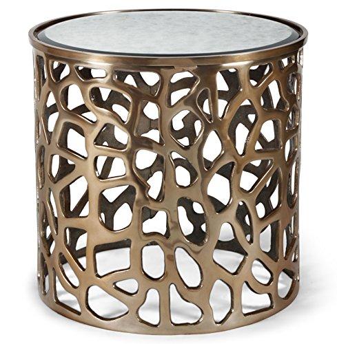 Imogen Copper Pierced Antique Mirror Drum Side End Table