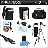 Must Have Accessory Kit For Sony HDR-XR260V, HDR-TD20V, HDR-CX190, HDR-CX210,HDRCX330/B, HDRPJ810/B, FDR-AX100/B, HDRCX240/B, HDR-PJ670, FDR-AX33 HD Handycam Camcorder Includes Replacement (2300Mah) NP-FV70 Battery + Travel Charger + Case + Tripod + More
