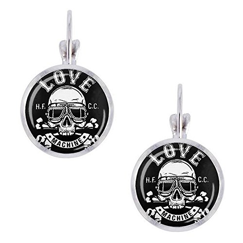 [Luck Wang Woman's Unique Fashion Personality Skull 14mm Round Glass Earrings(2#)] (Gumdrop Costume Ideas)