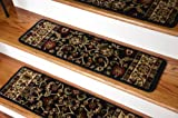 Dean Premium Carpet Stair Treads - Classic Keshan Ebony Black Rug Runners 31