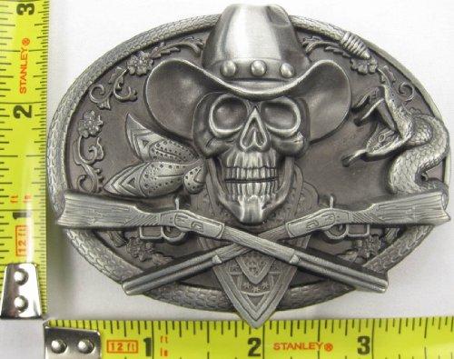 Cowboy Pirate Metal Belt Buckle Skull & Rifles Rattlesnake