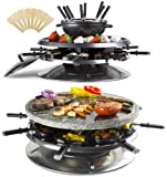 Andrew James Luxury 2 in 1 Stone Raclette Grill & Fondue Set with Thermostatic Heat Control - Large 37cm Diameter Cooking Surface - Patented Oil Drainage System