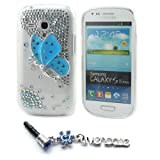 Ivencase Blue Butterfly Diamond Bling Hard Case Cover for Samsung Galaxy S3 III Mini i8190 + One phone sticker + One