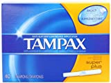 Tampax Cardboard Applicator Tampons, Super Plus Absorbency, 40 Count (Pack of 2)