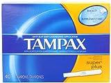 Tampax Cardboard Applicator Tampons, Super Plus Absorbency, 40 Count (Pack of 2)