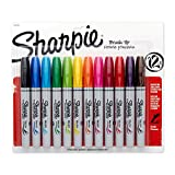 Sharpie Permanent Markers, Brush Tip, Assorted, 12 Pack