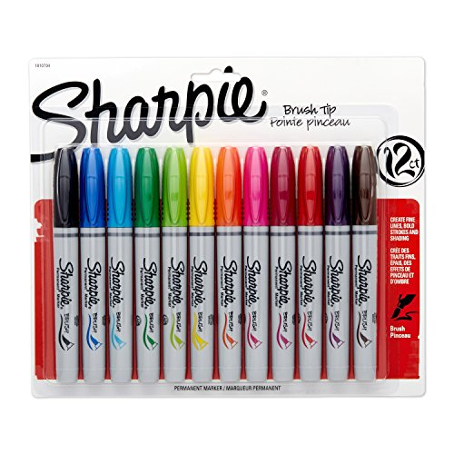 sharpie-permanent-markers-brush-tip-assorted-12-pack