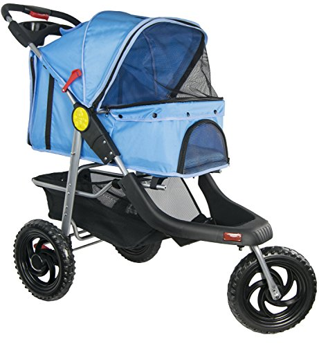 VIVO Three Wheel Jogging Pet Stroller, for Cat, Dog and More, Foldable Jogger Carrier Strolling Cart, Multiple Colors (Blue)