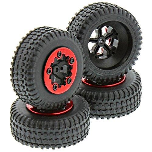 Losi 1/24 Micro SCTE 4WD * TIRES, 5 SPOKE BLACK WHEELS & RED BEADLOCKS * Truggy (Losi Truck Parts compare prices)