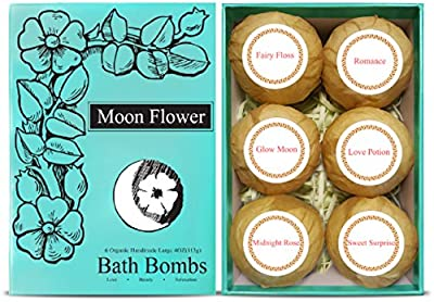 Moon Flower Aromatherapy Bath Bombs Gift Set - 6 Organic Lush Handmade Spa Bomb Fizzies - Natural & Organic Ingredients, Vegan, Cruelty Free. Infused w/ Essential oils, Vitamin E, Cocoa & Shea Butter