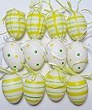12 handbemalte Ostereier aus Kunststoff mit Band zum aufhängen -