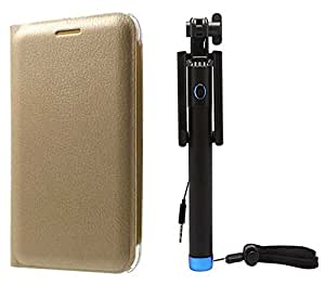 Novo Style Samsung Galaxy J1 Ace Folio PU Leather Case Slim Cover with Stand + Wired Selfie Stick No Battery Charging Premium Sturdy Design Best Pocket Sized Selfie Stick