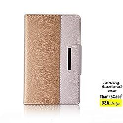 Thankscase Ipad Mini / Mini Retina / Mini 3 Case Rotating Case Cover with Hand Strap and Wallet Case Cover for Ipad Mini 3/ Ipad Mini 2nd Generation with Retina Display and Ipad Mini 1st Gen.(gold)