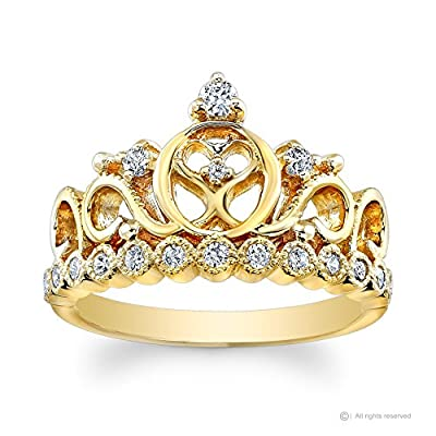 14K Yellow Gold Princess Heart Crown CZ Ring