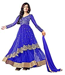 Samay Creation Blue Net Embroidered Semi-stitched Anarkali Dress Material