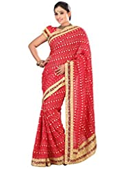 Designer Adorable Red Colored Embroidered Faux Georgette Saree By Triveni