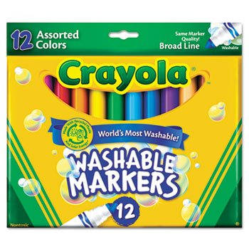 6 Pack Washable Markers, Broad Point, Classic Colors, 12/Set by Crayola. (Catalog Category: Paper, Pens & Desk Supplies / Art & Drafting)