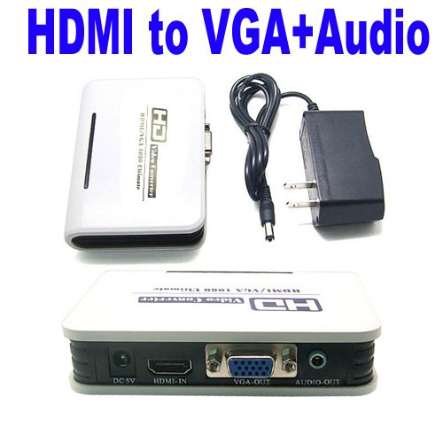 Great Features Of PC DVD HDMI to VGA & Audio For HDTV CRT Video Converter Box Adapter 1080P New