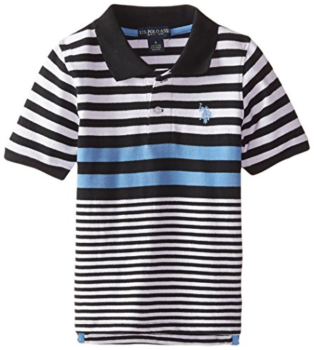 U.S. Polo Assn. Little Boys' Engineered Stripe Pique Polo, Black, 7