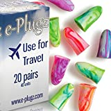 e-Plugz Earplugs for Sleeping, at Work and Peace & Quiet - Includes a Convenient & Free dB Reference card. Frees you from the Noise Around YOU - Noise Reduction of NRR 33. Latex-free Soft Foam Shapes to Fit Large to Very Small Ears, Plugs Canals Comfortably. 20 Pairs/40 Units
