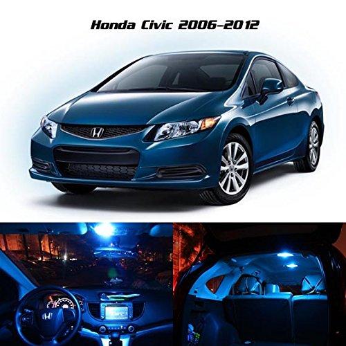 Partsam 2006 2012 honda civic coupe sedan ice blue interior led lights package kit gift tool for 2012 honda civic interior accessories