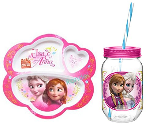 Disney Frozen Elsa and Anna Divided Plate and Mason-jar Style Cup with Straw
