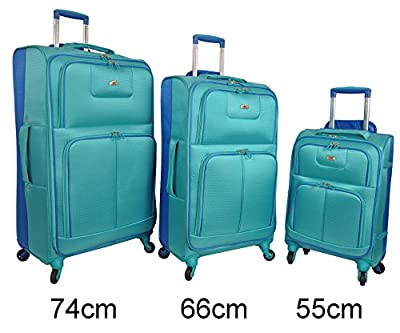 "Aerolite® New Version Super Lightweight World lightest Suitcase Trolley Case (21/26/29"") SET Aqua/Royal"