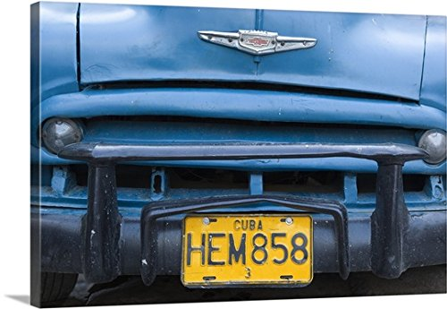 Gallery-Wrapped Canvas entitled Cuban license plate on old 1950's Chevy (Register Chevy compare prices)