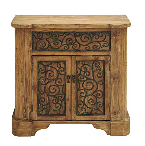 Benzara Wood Metal Cabinet With Graceful Curve Motifs front-723852