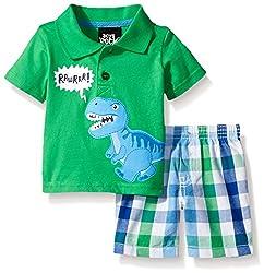 Boys Rock Baby 2 Pc Short Set Checkered Dino, Green, 18 Months