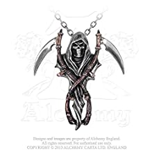buy The Reapers Arms Double Scythe Grim Reaper Harvester Of Sorrow Necklace By Alchemy Gothic