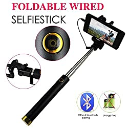 Extendable Folding Wired Selfie Stick (Black)