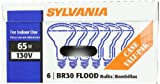 Sylvania 15172 65-Watt 130-Volt BR30 Indoor Flood Light, 6 Pack