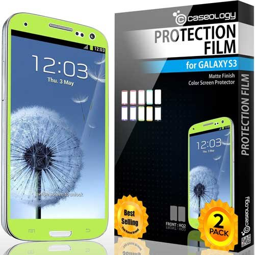 Galaxy S3 Screen Protector, Caseology [Hd Clarity] Samsung Galaxy S3 Screen Protector [2-Pack] [Lime Green] [Lifetime Replacement Warranty] Color Film [Crystal Clear] Front Screen Protection Galaxy S3 Screen Protector (For Samsung Galaxy S3 Verizon, At&T