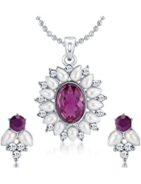 Sukkhi Glimmery Rhodium Plated AD Pendant Set For Women