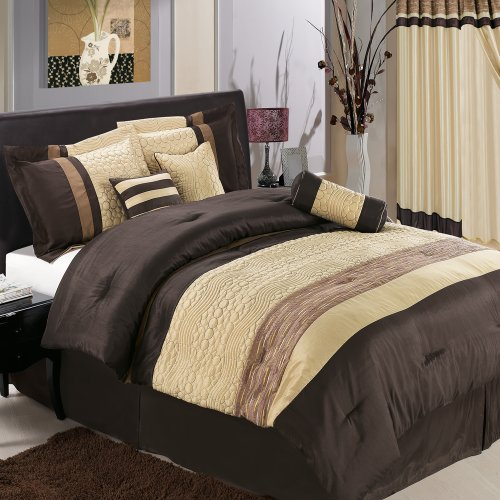 Sonata Coffee Full Size Luxury 11 Piece Comforter Set Includes Comforter, Sheets, Skirt, Throw Pillows, Pillow Shams By Royal Hotel front-1076881