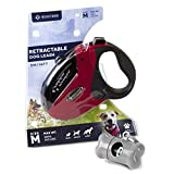 BEASTRON Retractable Dog Leash 16 ft Extra Long Nylon Ribbon Walking Leash for Medium to Large Dogs up to 110lbs Tangle-Free One Button Break & Lock Dog Waste Dispenser and Bags included