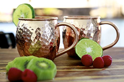 Set of 2 Moscow Mule Copper Mugs with Shot Glass - Two 16 Oz Copper Moscow Mule Mugs - Solid Copper Hammered Mug - Copper Cups for Moscow Mules