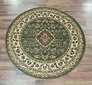 Flair Rugs Sincerity Sherborne Round Rug, Green, 133 Cm by Flair Rugs
