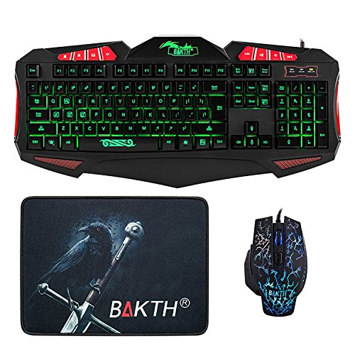 BAKTH Adjustable 7 Color Rainbow LED Backlight USB Gaming Keyboard and Mouse Combos Bundle + BAKTH Customized Large Mouse Mat
