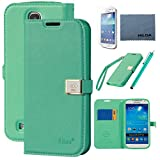Case for Galaxy S4 , By Ailun,Wallet Case,PU Leather Case,,Cut,Credit Card Holder,Flip Cover Skin,(Green),with Screen Protect and Styli Pen